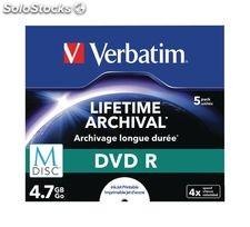 Verbatim M-Disc DVD-R Paquete de 5 uds, ideal para salvar datos importantes,