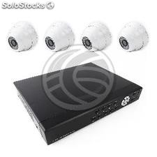 Video surveillance dvr Kit with 4 dome cameras ip compatible hdmi vga cvbs