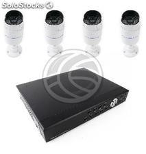 Video surveillance DVR Kit with 4 pedestal cameras IP compatible HDMI VGA CVBS