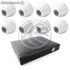 Video surveillance dvr Kit with 8 dome cameras ip compatible hdmi vga cvbs