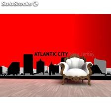 Vinilo decorativo skyline ciudad de Atlantic City - w:116cm. X h:25 cm.