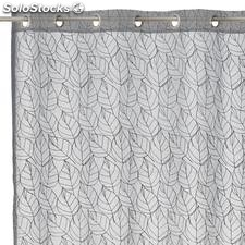 Visillo bordado Nice Leaves gris 140x260cm