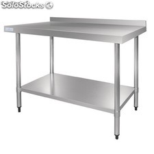 Vogue Stainless Steel Table with Upstand - 600x700x900mm