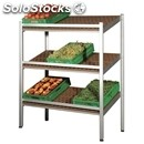 Wall display shelf with sloping shelves-for fruits and vegetables-mod. quads