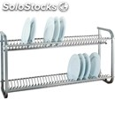 Wall-mounted plate/glass draining rack - mod. sp1397 - grade 18/8 shiny