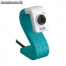 Webcam HERCULES hd twist turquesa - sensor 720p - microfono integrado - fotos
