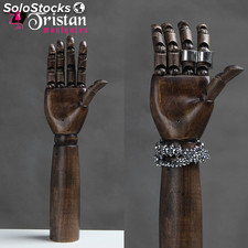 WH07 WH07-L-R articulable walnut-colored wood hand / right hand feminine 36CM