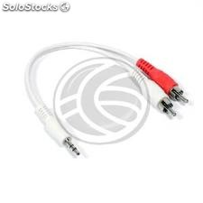 White audio cable to stereo minijack 3.5 2xRCA M/M 20cm (TW97)