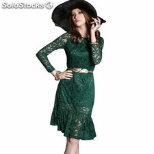 Women's A-line, Princess Round collar Knee-length long Sleeve lace Hourglass