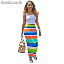 women two pieces outfits 2016 women summer print striped maxi long dress midi