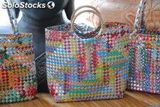 Woven Bag with Rattan Handle