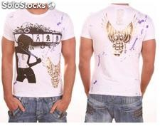 "Young Rich t-shirt Clubwear ""domina"" yr-1913-7452 Bianco"