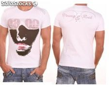 "Young Rich t-shirt Clubwear ""face"" yr-1913-7448 bianco"