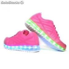 Zapatillas led rosas tipo runing