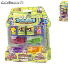 Zomlings serie 6 blister 4 zomlings + 4 vehiculos